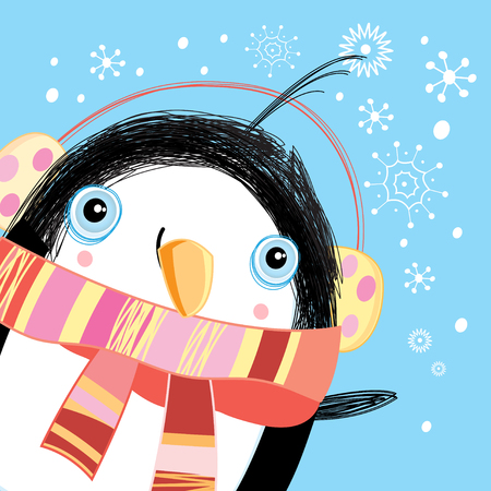 Bright Christmas card with a funny penguin on a blue background with snowflakes Vector