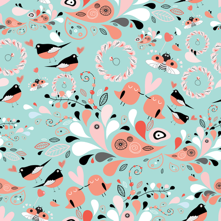 seamless graphic floral pattern with birds in love on a blue background Vector