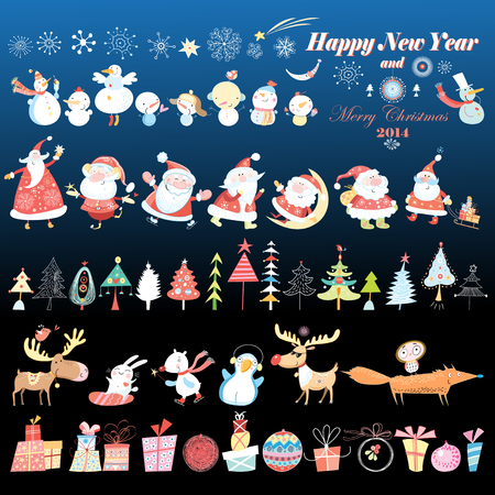 classic santa: Collection of Christmas design elements Vector Pictures