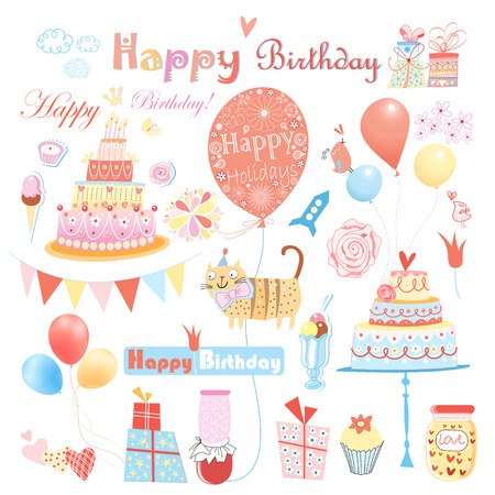 red balloons: beautiful colorful set of different elements to the birthday on a white background Illustration