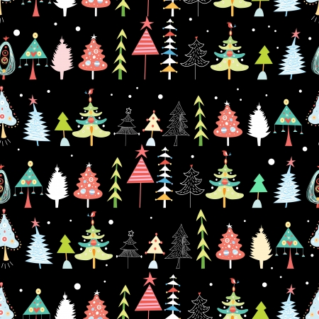 Christmas seamless bright pattern of different trees on a black background  Vector