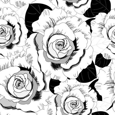 outline flower: Seamless graphic pattern of roses  Illustration