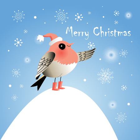 workmanship: Funny Christmas bird on a bright blue background with snowflakes