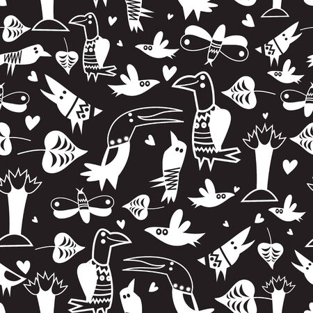 workmanship: Graphic seamless pattern with funny white birds on a black background  Illustration