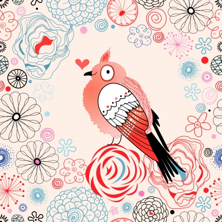 beautiful love bird on floral decorative background
