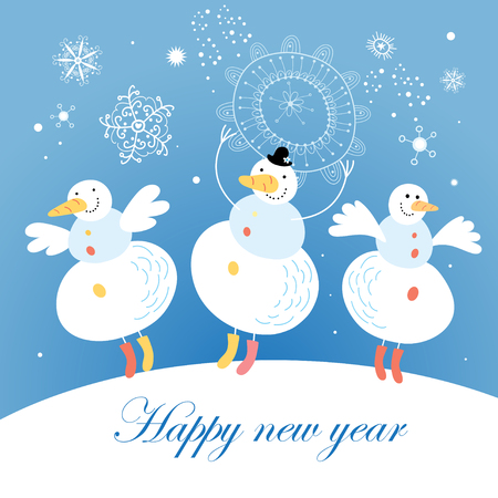 Bright Christmas card with a snowman on a blue background with snowflakes  Vector