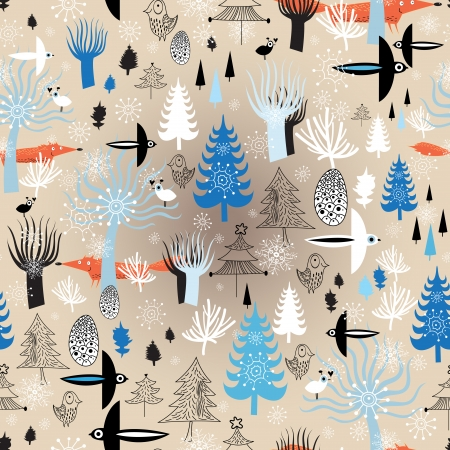 Christmas seamless pattern with winter forest and birds on a light background with snowflakes  Vector