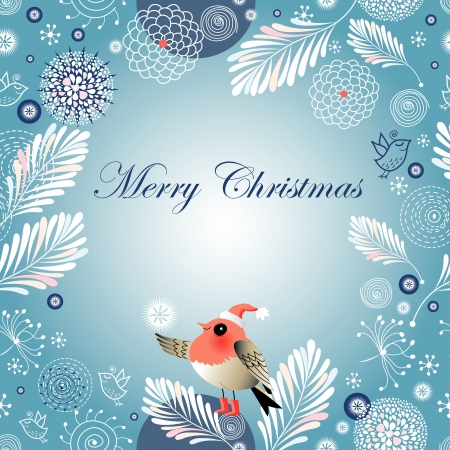 bright Christmas winter background with birds on a blue background with snowflakes    Illustration