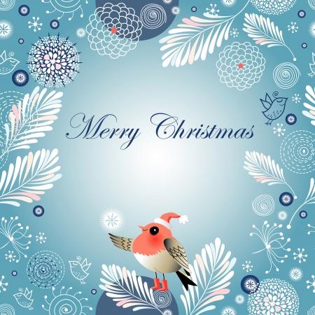 heldere Kerst mis winter achtergrond met vogels op een blauwe achtergrond met sneeuwvlokken