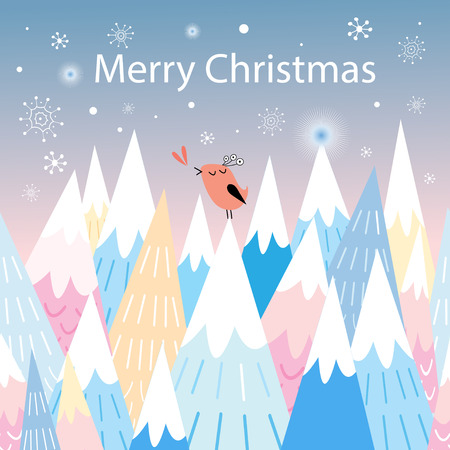 workmanship: Christmas greeting card with a bird in the mountains and blue background with snowflakes Illustration