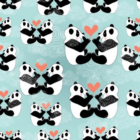 雲と青い背景に愛パンダの面白いのシームレス パターン  イラスト・ベクター素材