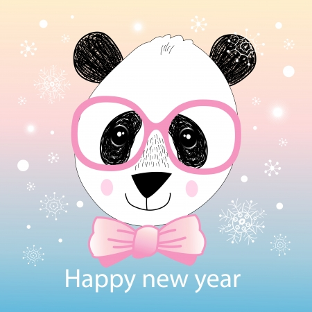 workmanship: Christmas greeting card with a panda on a blue background with snowflakes