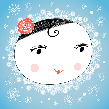 workmanship: graphic portrait of a cheerful girl on the winter background with snowflakes
