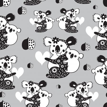 Grafisch naadloos patroon met grappige koala's op een grijze achtergrond Stock Illustratie