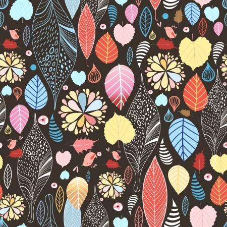 Autumn seamless pattern with colorful leaves and birds on a dark background