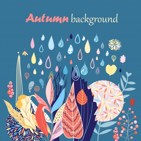 beautiful autumn background with different colored leaves and the rain on a dark blue Banco de Imagens - 24072239