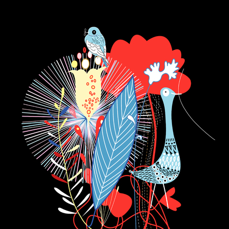 graphic flower and bird on a black background Illustration