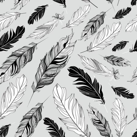 灰色の背景に羽のシームレスなグラフィック パターン
