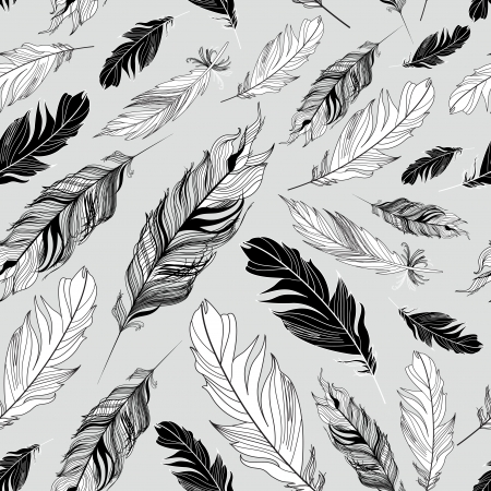 Seamless graphic pattern of feathers on a gray background