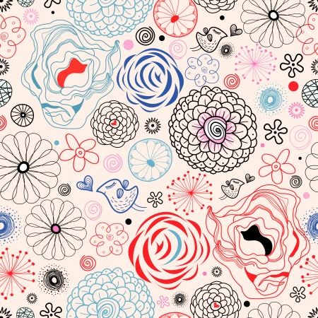 seamless graphic floral pattern with birds in love on a bright pink background  Illustration