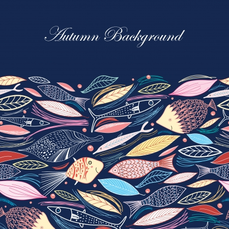 Autumn background from leaves and fish on a dark blue background Illustration