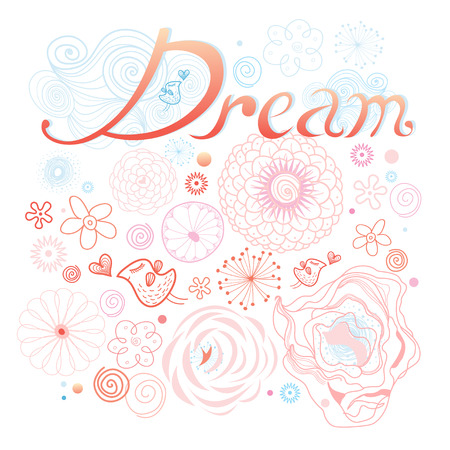Graphic inscription dream on a floral background with birds in love. wedding invitatio Vector