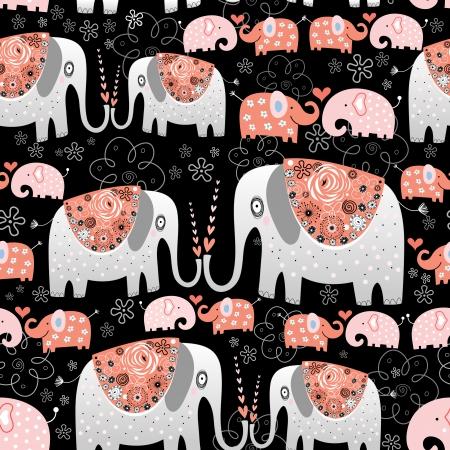 黒の背景に装飾的な象のシームレス パターン    イラスト・ベクター素材