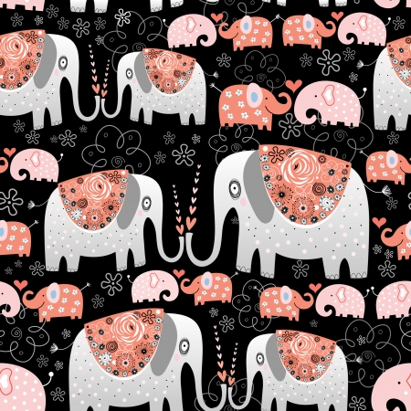 seamless pattern of ornamental elephants on a black background   Illustration