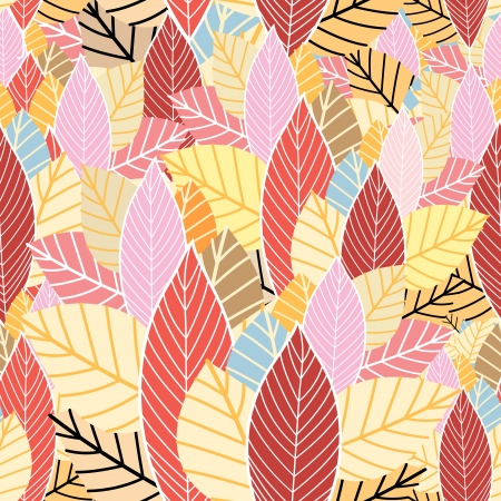 seamless pattern of colorful autumn leaves   Vector
