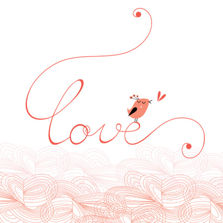 Graphic inscription love with a bird on a white background. Love card   Vector