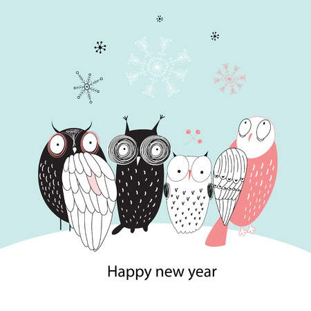 graphic greeting Christmas card with cheerful owls on a blue background with snowflakes  Vector