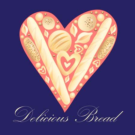 heart suite: Different tasty bread on the background of the heart Illustration