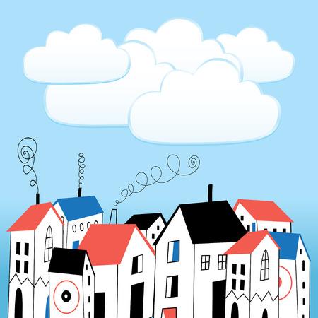 graphics huis en witte bellen voor tekst op een blauwe achtergrond