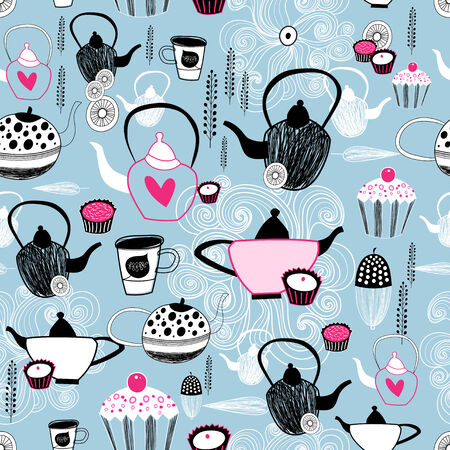Graphic seamless pattern with kitchen utensils and cake on a blue background  Vector