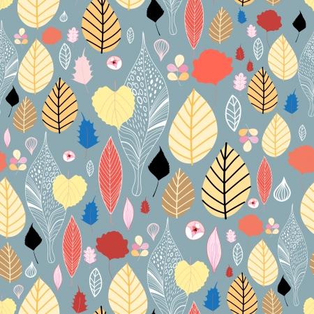 Beautiful seamless pattern of colorful autumn leaves Illustration