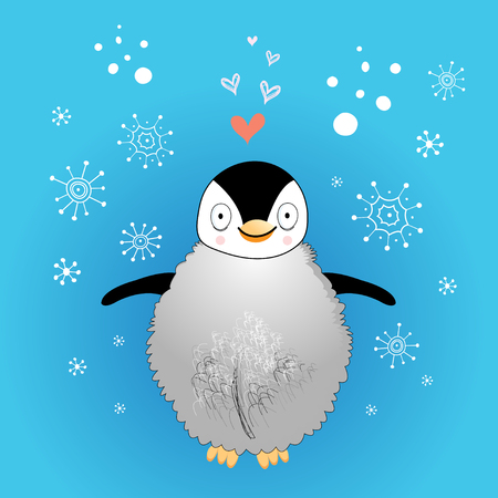 love little penguin on a blue background with snowflakes  Vector