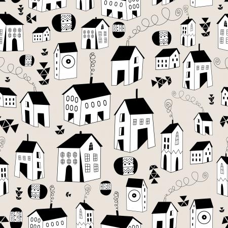 Seamless, avec des maisons graphiques sur un fond clair Banque d'images - 24077224