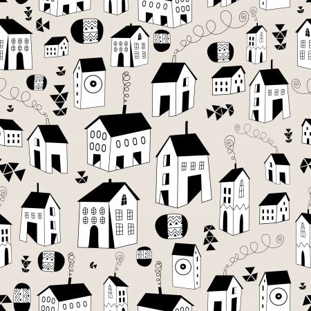 seamless pattern with graphic houses on a light background  Ilustrace
