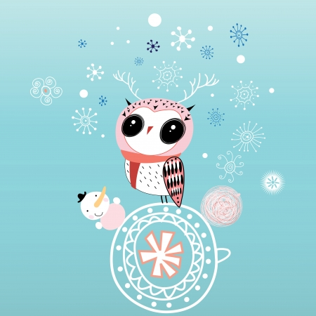 Christmas card with an owl on a blue background with snow   Vector