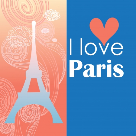 Paris card as a symbol of love and romance of travel  Vector
