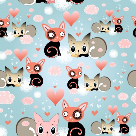 Bright seamless pattern of love cats on a blue background with pink clouds   Vector