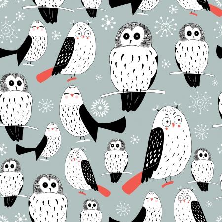 눈송이와 회색 배경에 흰색 올빼미의 원활한 그래픽 패턴