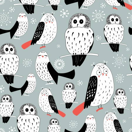 Seamless graphic pattern of white owls on a gray background with snowflakes