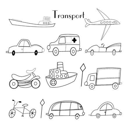grafische illustratie van verschillende vervoer op een witte achtergrond Stock Illustratie