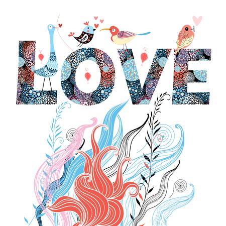 decoratieve grafische kaart met de woorden liefde en in liefde vogels Stock Illustratie