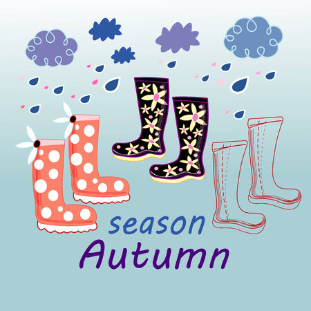 Autumn background with boots on a blue background with clouds and rain Çizim