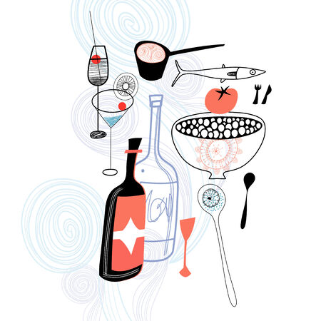 Grafische drankjes en eten op blauwe decoratieve achtergrond Stock Illustratie
