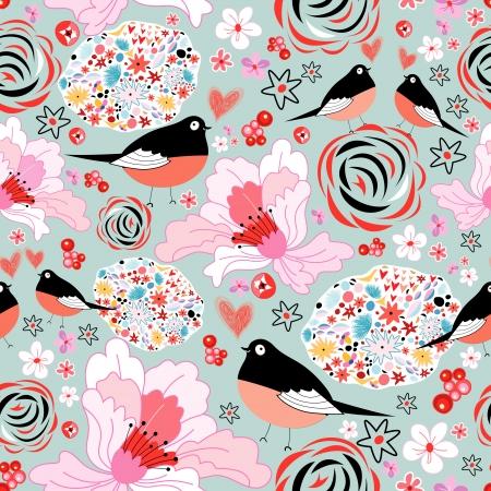 Naadloze levendige bloemmotief met vogels in liefde op een lichtblauwe achtergrond