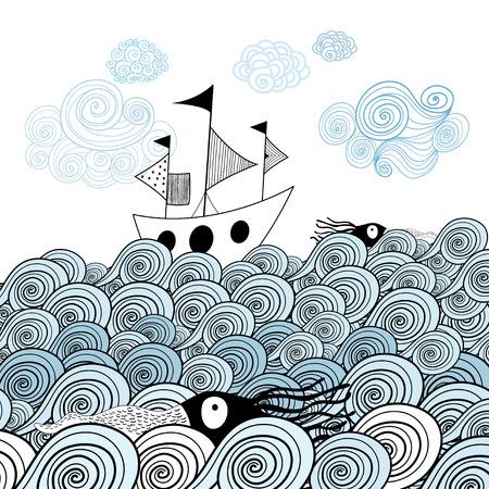 배경 그래픽 장식 바다 파도에 선박의 아름다운 이미지