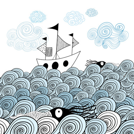 beautiful image of the ship on the background graphic ornamental sea waves